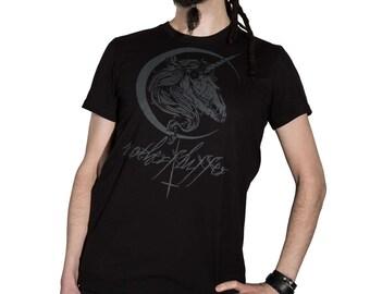 Fairtrade T-Shirt Unicorn black grey Unicorn skull skull Crescent motherfluffer pressure hand printed handmade