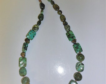 All Natural Turquoise and Dragon Veins Agate And Titanium