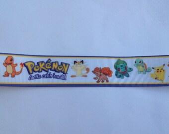 "1""  Gotta Catch 'Em All! Pokemon inspired Grosgrain Ribbon  -  By The Yard"