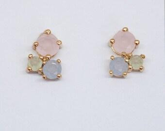 Earrings yellow gold pink blue green wedding bride Bridal jewelry