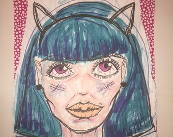 Druggy feline hairy girl art drawing colorful painting