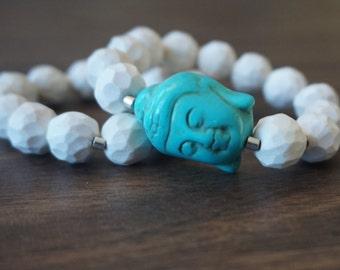 White Popcorn Bead & Teal Buddha Bracelet Set