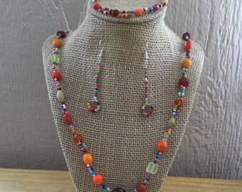 34: Necklace, Bracelet, Earrings Set