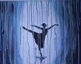 Acrylic Painting Dancer Silhouette In the Rain
