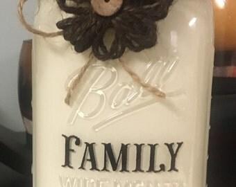 Decorative Ball/Mason Jar FAMILY Heirloom White w/ Lettering - Homemade / Unique
