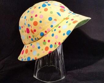 Floppy Hat Reversible  Fun Polka Dots  Baby Medium Size  BMF1