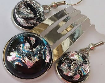 Simply stunning and sparkly dichroic fused glass earrings and hair clip black, blues and silver