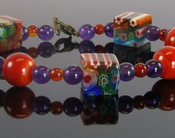 Amethyst, Carnelian, and Square Bead Bracelet