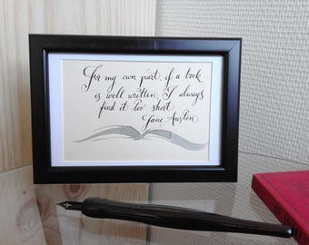 Jane Austen calligraphic quote framed