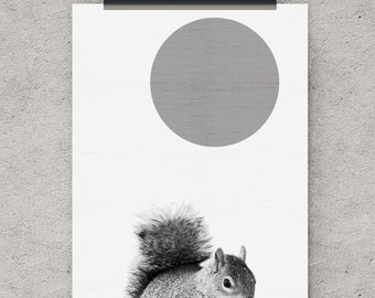 Squirrel print, Squirrel art, nursery printable, digital download art, nursery prints, digital print, animal art, printable wall art, poster