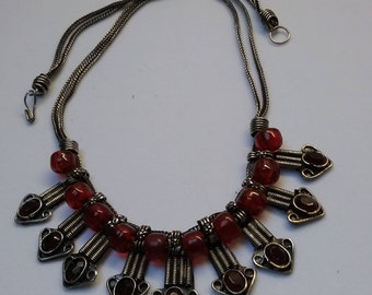 Silver tone  red bead necklace