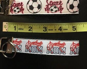 SALE - Baseball Mom OR Soccer Mom Fob/Chain Wristlet
