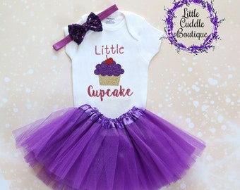 Little Cupcake Baby Outfit, Purple Baby Outfit, Baby Girl Gift, Cupcake Birthday, Cupcake Onesie, Cupcake Baby Outfit, Cute Baby Outfit