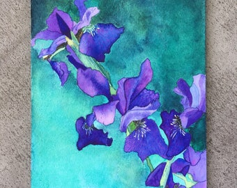 Irises Original Watercolor Painting