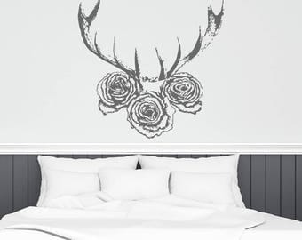 Deer Wall Decal Etsy - Custom vinyl wall decals deer