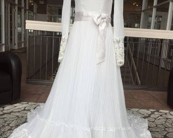 Long Sleeved Vintage Wedding Dress with Embellishments