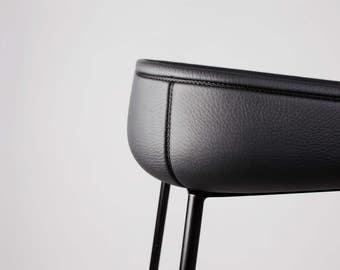 WAVE LEATHER half bar stool