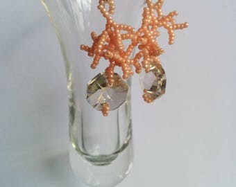 Coral Bead and Swarovski Crystal Earrings