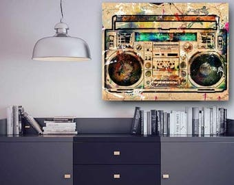 Boombox, Ghettoblaster, Hip Hop Canvas, Music Canvas, Dancer Canvas, Music Watercolor Canvas, Large Wall Art, Large Canvas, Dancer Gift