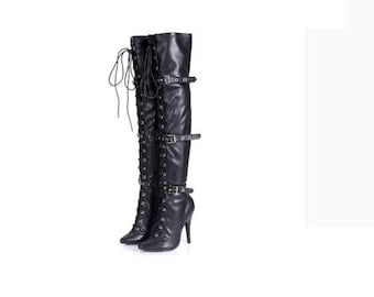 Sexy thigh high boots with string details