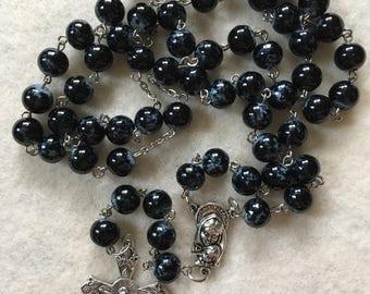 Black Splatter Paint Rosary