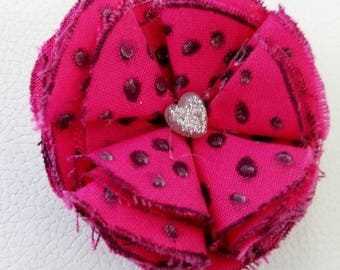 Pink fabric flower hair barrette pink and polka dotted barrette pink fabric flower barrette polka dotted hair clip polka dotted barrette