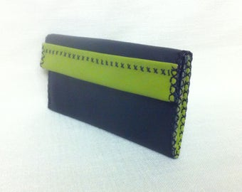 Leather Hand stitched Black and green purse