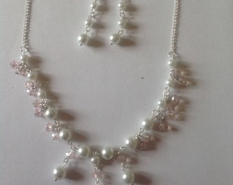 White pearl necklace pearl jewellery set pearl earrings bridal jewellery wedding jewellery bridesmaid necklace crystal necklace