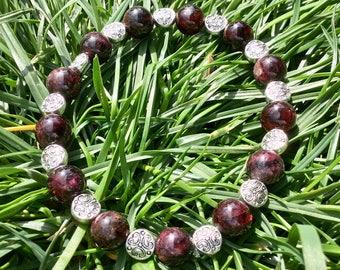 Elegant Semi Precious Garnet and Silver Stone Bracelet