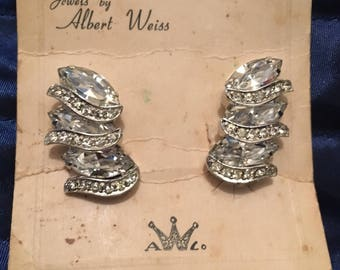 Stunning Albert Weiss Clip-on Rhinestone Earrings on Original Card