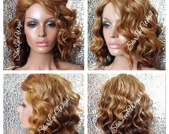 Short Curly Wavy Ombre Bob Wig - Strawberry Blonde, Auburn, Brown - Side Part - Heat Resistant Safe