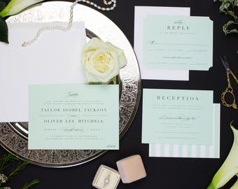 Black Tie Wedding Invitation Suite, Mint Wedding Invitation Romantic, Printed Wedding Invitation Set, COUNTRY CLUB SUITE