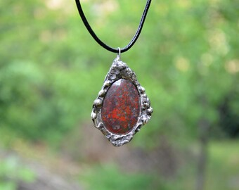 Jaspe soldered pendant/ Soldered necklace/ tiffany