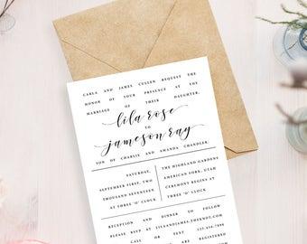 Minimal Wedding Invitation // Modern, Clean Wedding Invitation
