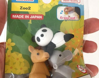 Daiso Kawaii Puzzle Erasers/ Choose from Zoo1/Zoo2/ Safari/ Welcoming Cat 2/ Puppy