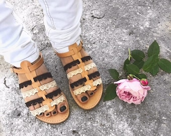 Gladiator Sandals, Stripe Sandals, Greek Lather Sandals, Greek Sandals, Leather Sandals, Lace Sandals, Made in Greece, Barefoot Sandals