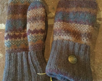 Wool Sweater Mittens Gray Multi Color Print