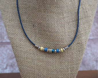 Blue Bead Cord Necklace