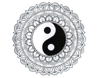 the yin yang mandala painting handmade signed print
