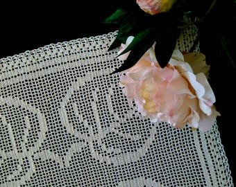 Hand crochet tablecloth, filet crochet, square doily,  white crochet lace doily, hand lace placemat, housewarming gift