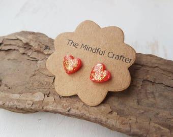 Heart earrings. Dainty earrings. love heart earrings. Red & gold leaf love heart jewellery. Love heart accessories. Hearts dainty hearts