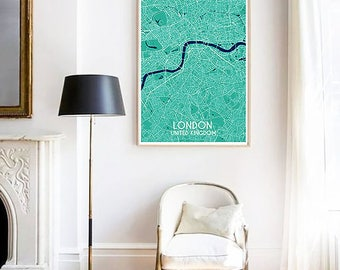 London City Map Print, Custom Map Print, Map, Large Poster, Wall Art, Green Wall Art, Travel Poster, London, City Map Print