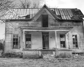 Abandoned house in rural Kentucky, photograph for wall art