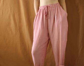 Vintage 1990s Red Gingham High Waist Loose Summer Trousers Size XS-S