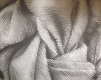 Textured scarf, Pencil drawing, Art Giclee Print