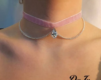 Pink velvet with white swarovski crystal and pink chain