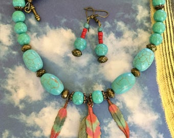 Boho feather necklace set