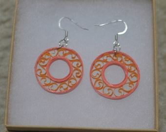 Orange Hoop paper Quilled Earrings