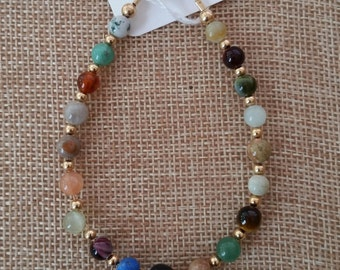 Natural Gemstone and Gold Bracelet
