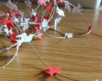 Littel red/white paper birds mini garland